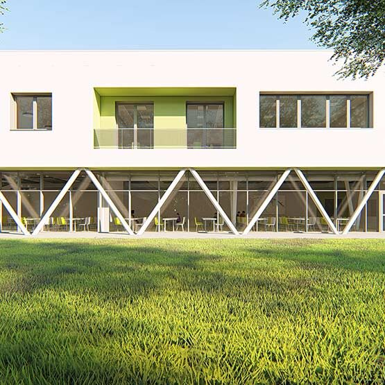 school complex-Vedelago-l shape bulding